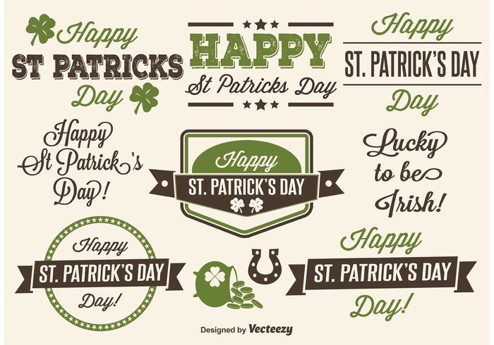 Étiquettes typographiques de Saint Patrick's Day