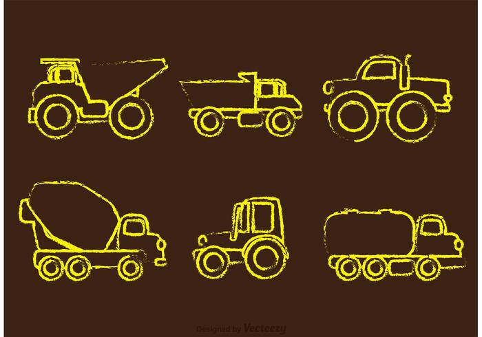 Chalk Drawn Dump Trucks Vectors