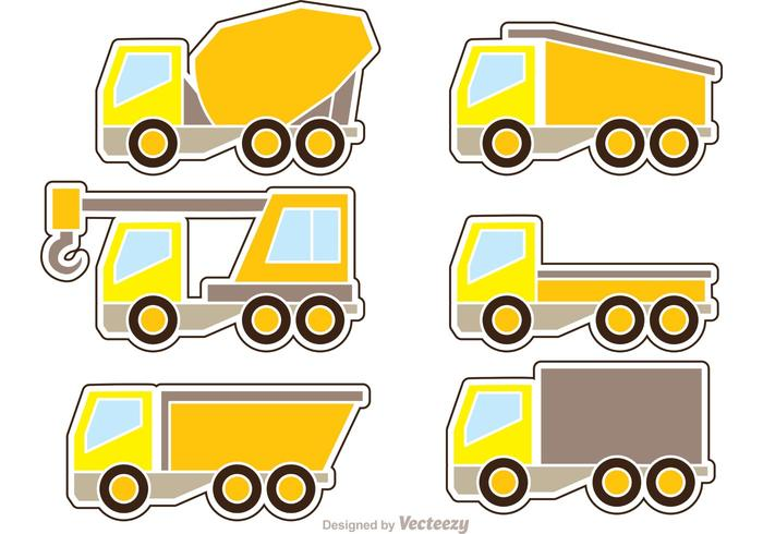 Dump Trucks Icons Vector