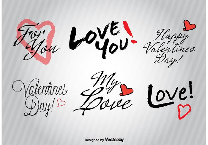 Hand drawn Love signs vector