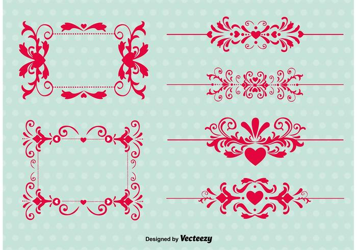 Vintage Love Ornament Vectors