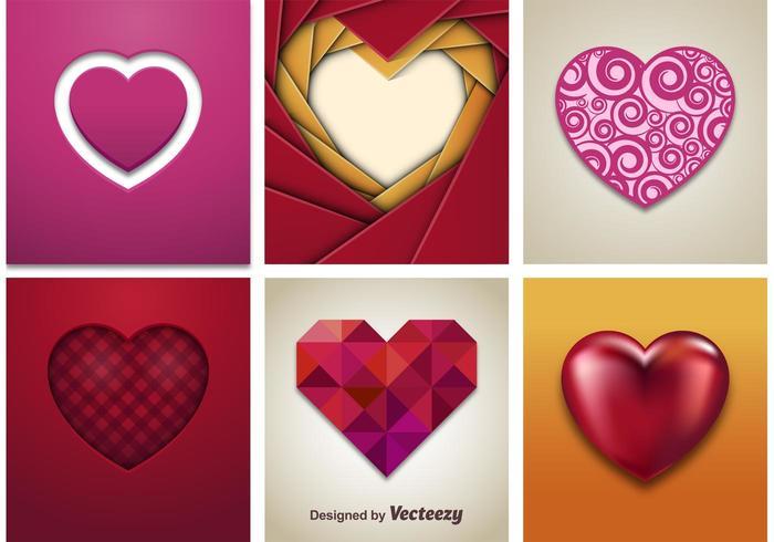 3D Vector Hearts