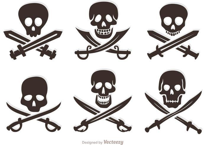 Set Of Pirate Vector Skulls