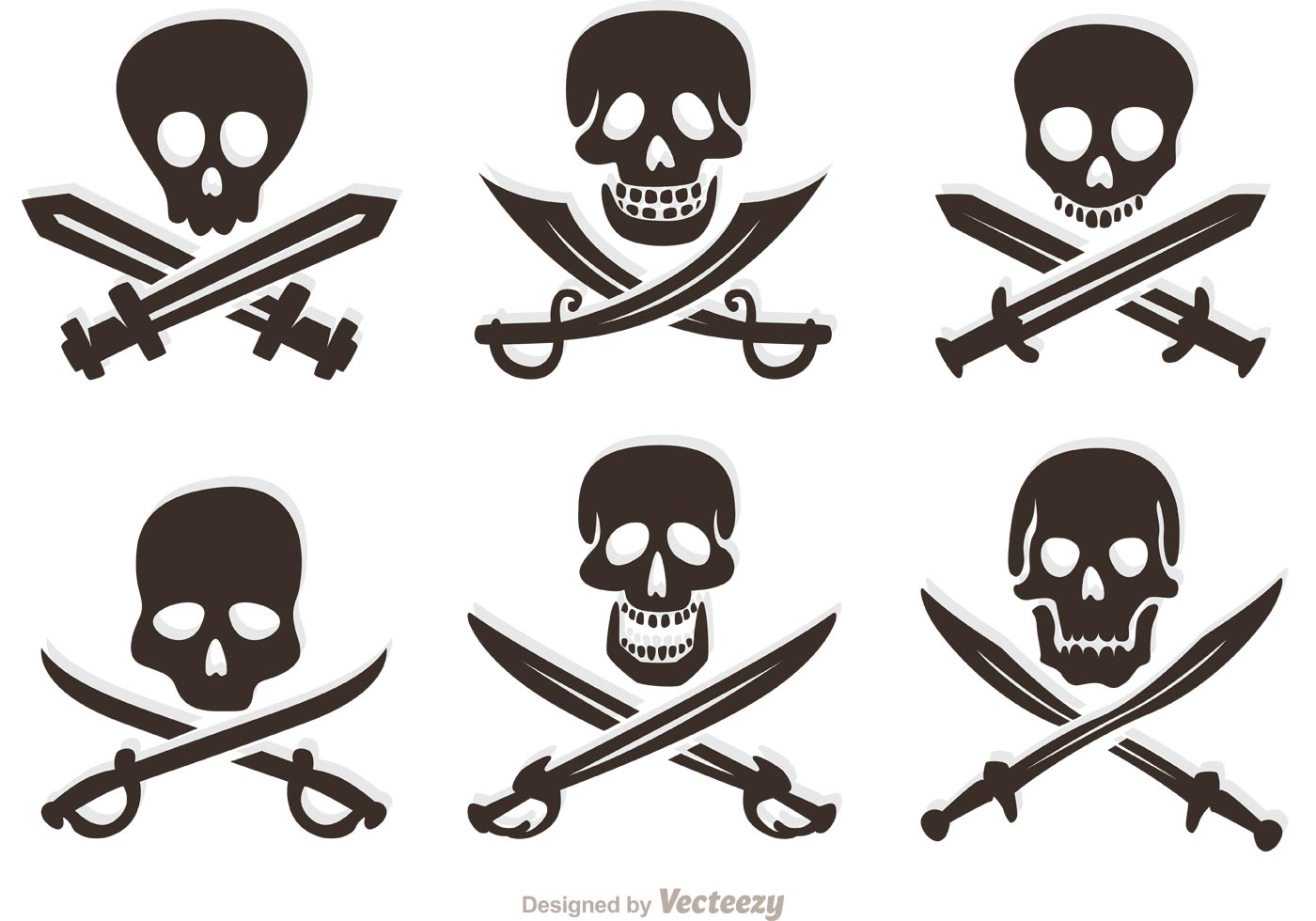 Set Of Pirate Vector Skulls - Download Free Vector Art ...