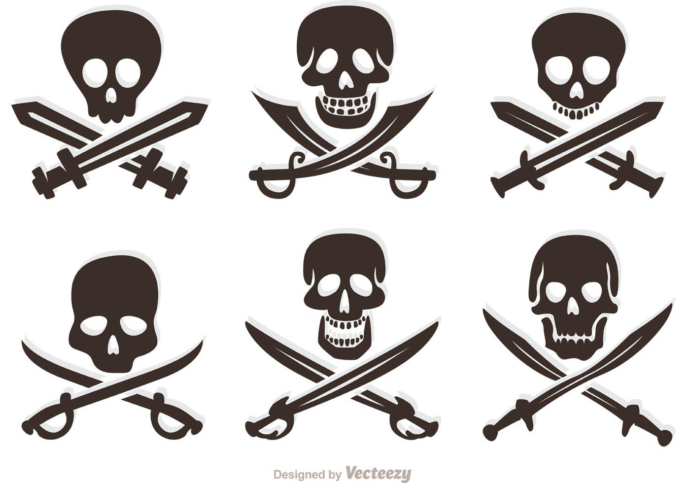 set of pirate vector skulls download free vector art