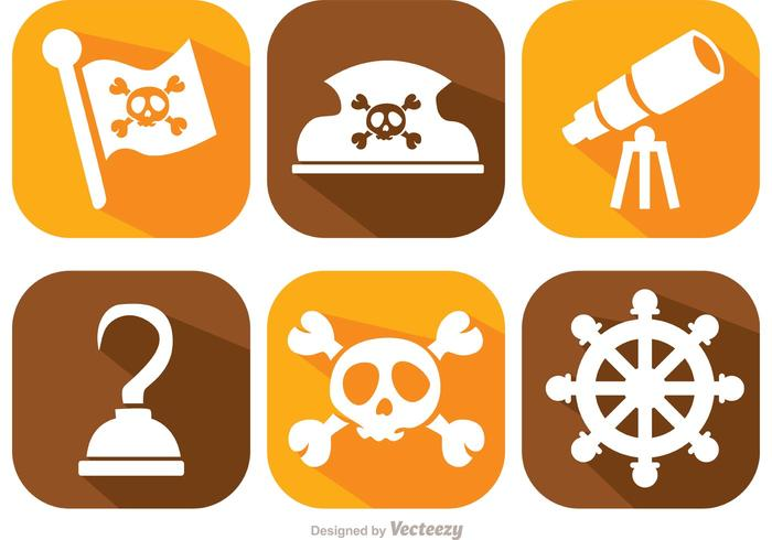 Pirate Long Shadow Icons Vector