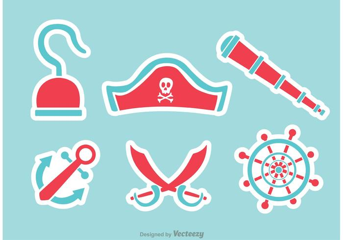 Pirate Flat Icons Vectors