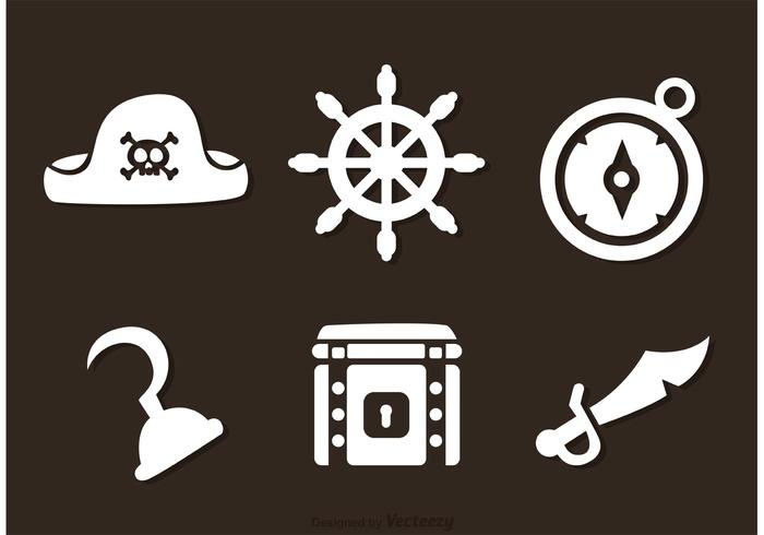 Pirate White Icons Vectors