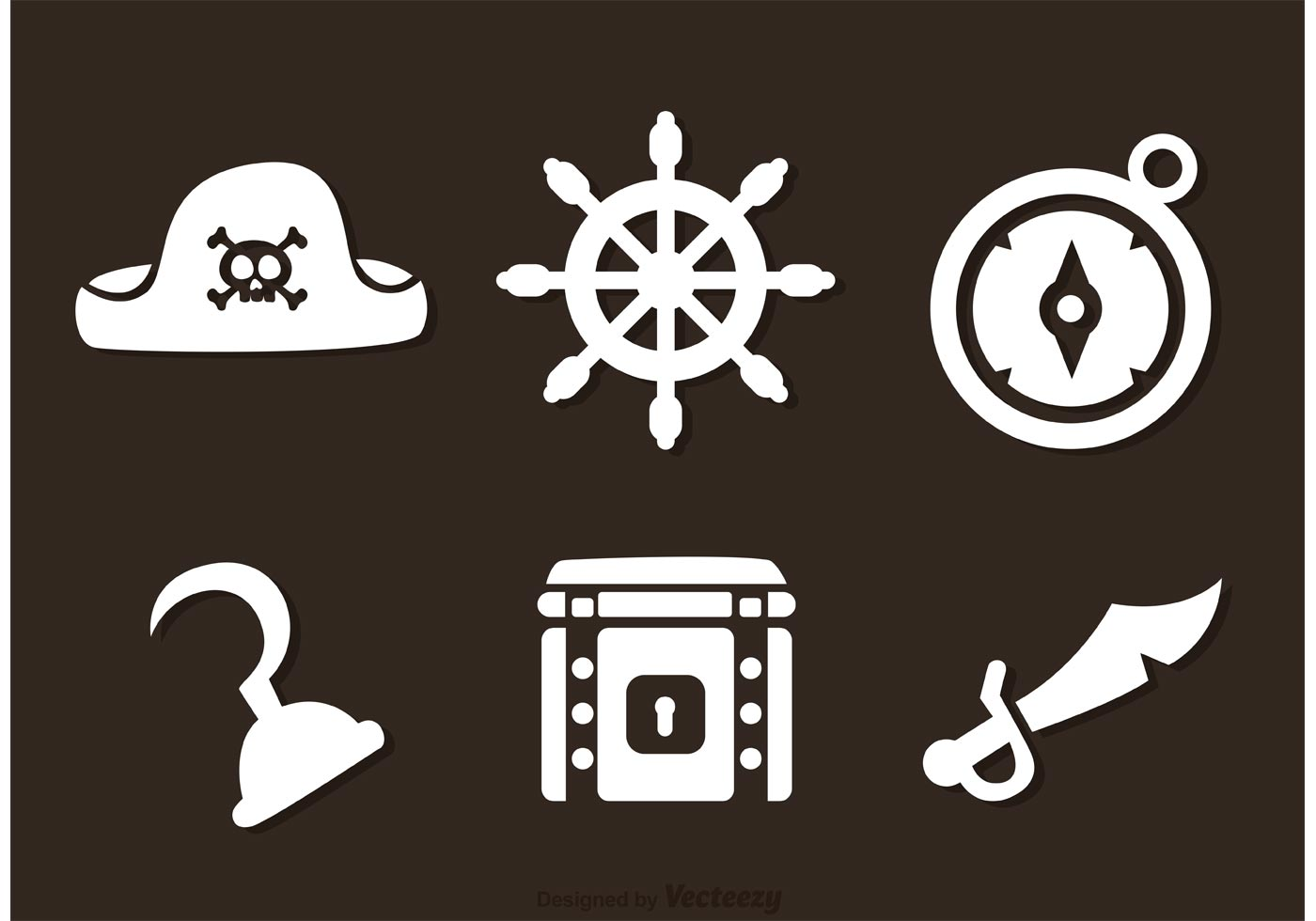 pirate white icons vectors
