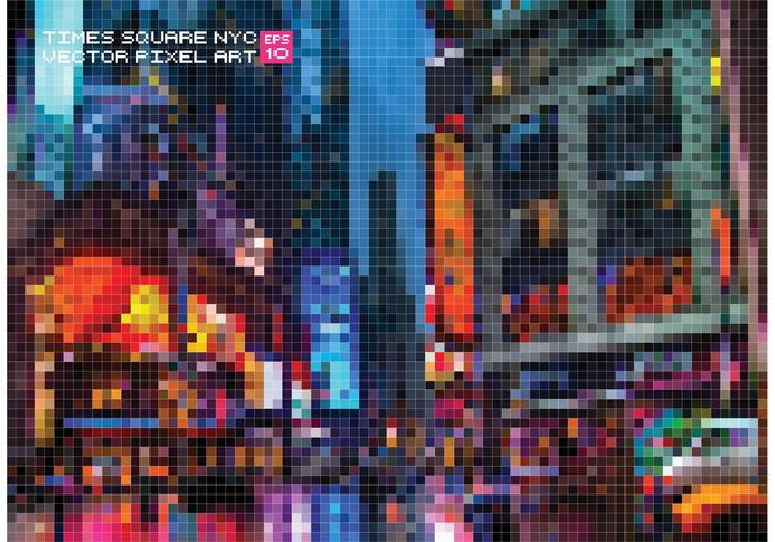 Free Vector Pixelate Times Square Background