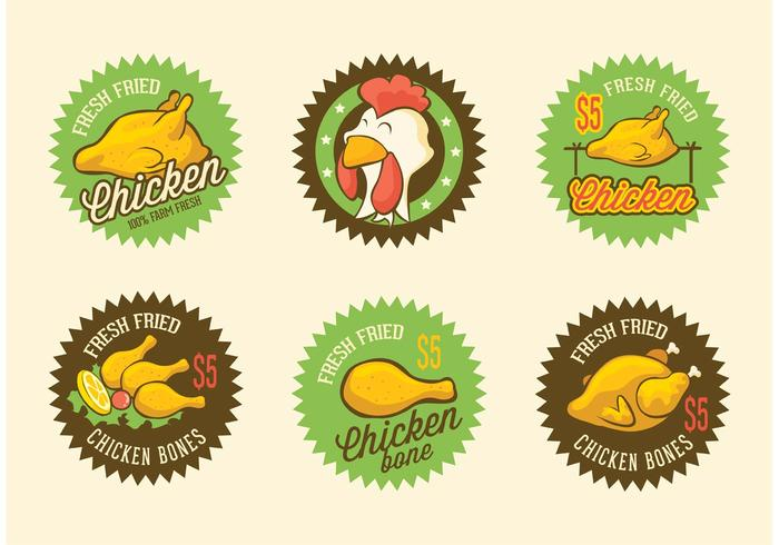 Retro Fried Chicken Vector Labels