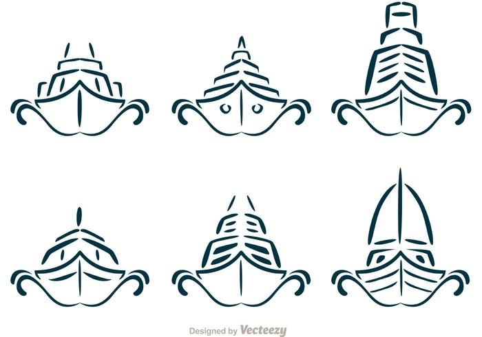 Symmetrical Cruise Liner Ship Vectors