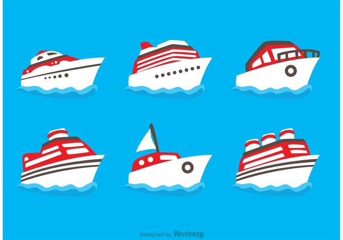 Flat Ship Icons Vectors