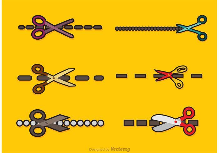 Scissor Cut Lines Vectors