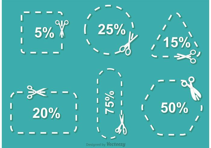 Simple Scissor Discount Coupon Vector