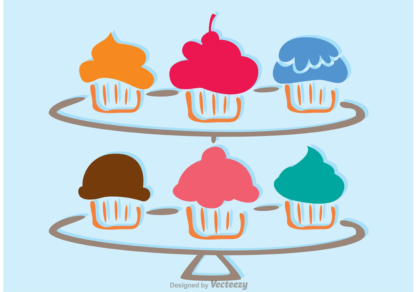 Cupcake Vector Art : Simple Cupcake Stand Vector - Download Free Vector Art ...