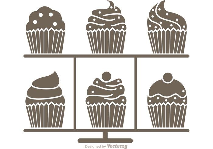 Silhouette Cupcake Stand Vector