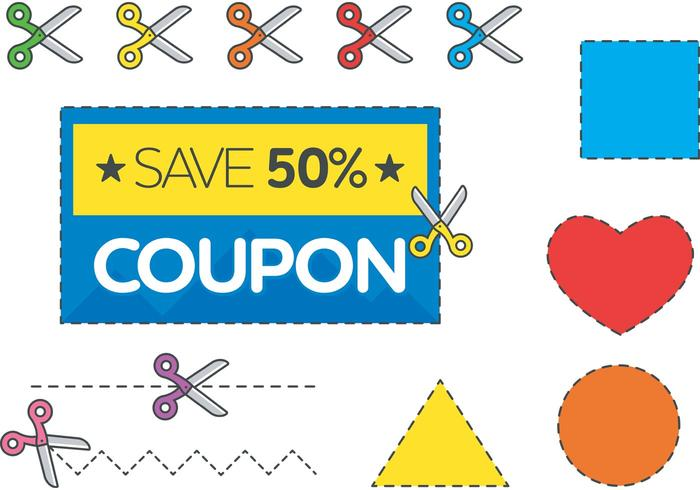 Scissors and Discount Coupon Vector Free