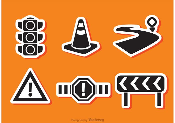 Road Traffic Black Icon Vectors
