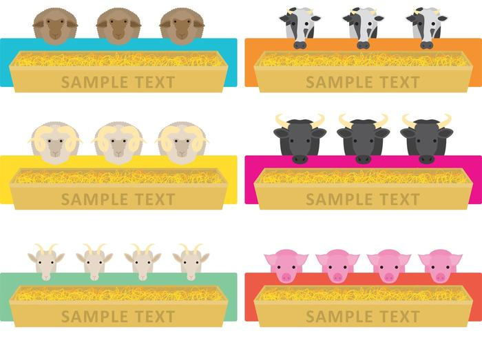 Farm Animal Feeding Trough Vectors
