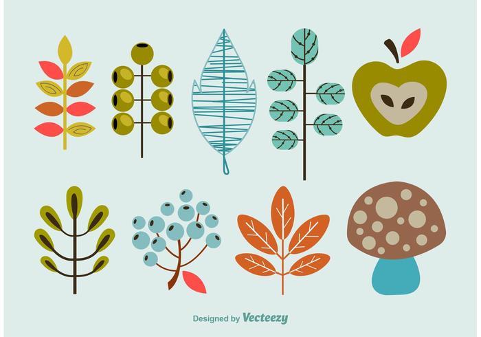 Decorative Cartoon Flora Vector Shapes