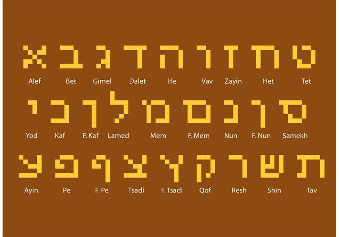Blocca i vettori di alfabeto ebraico