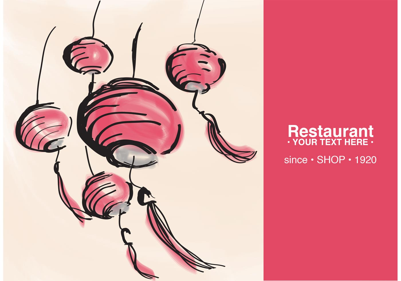 Restaurant card with chinese lantern vector download for Chinese vector