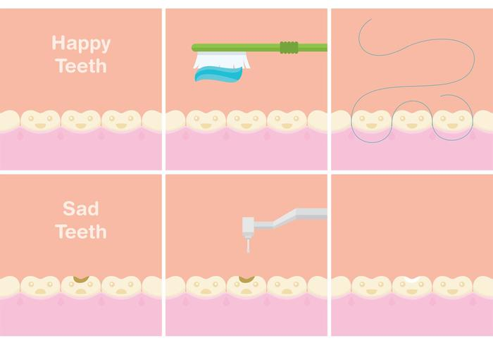 Happy & Sad Teeth Vectors