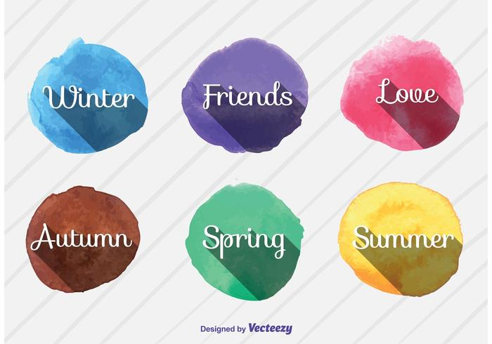 Seasonal Watercolor Vector Signs