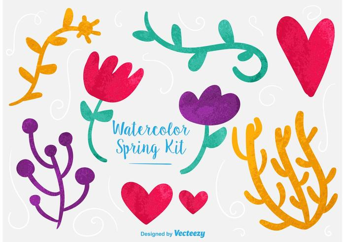 Watercolor Vector Floral Graphics