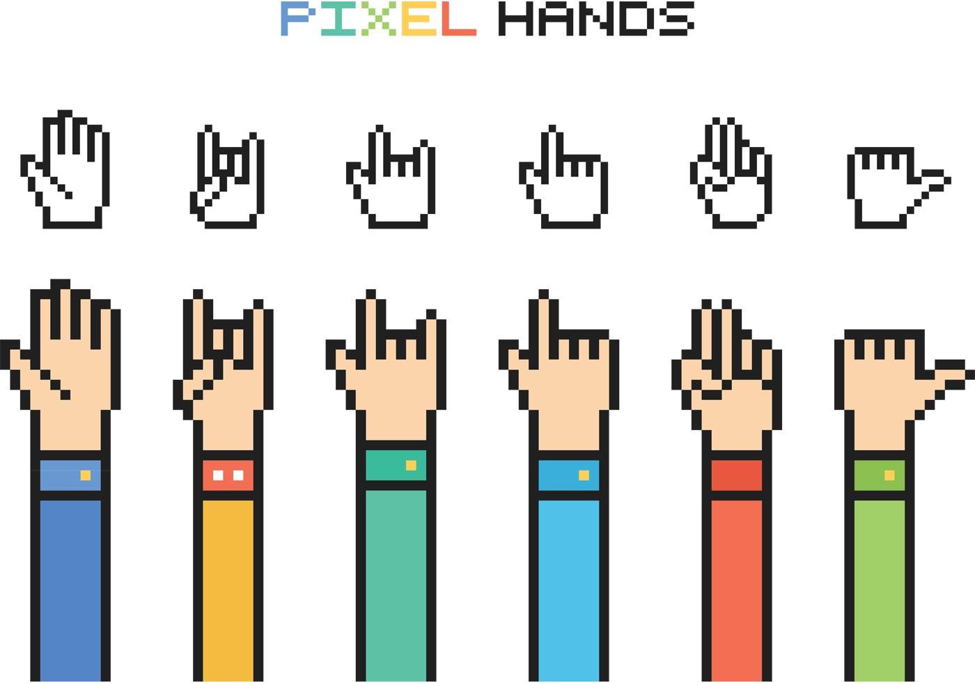 Free Vector Pixel Hands - Download Free Vector Art, Stock Graphics & Images