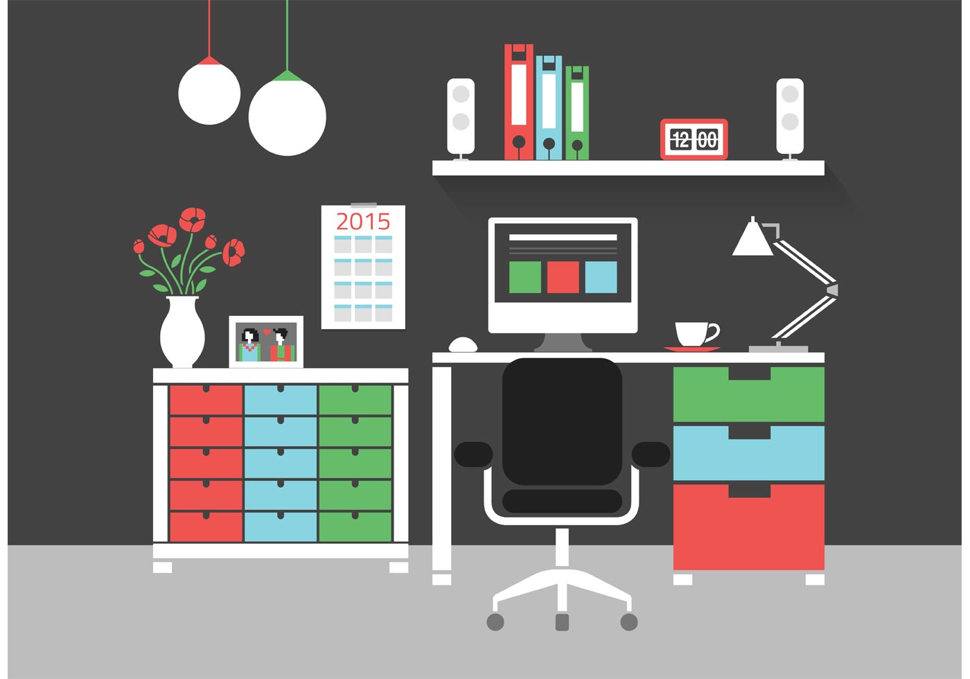 free modern home office interior vector icons download free vector - Interior Design Download Free