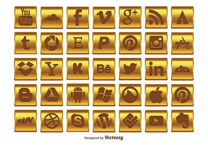 Guld Social Media Icon Set
