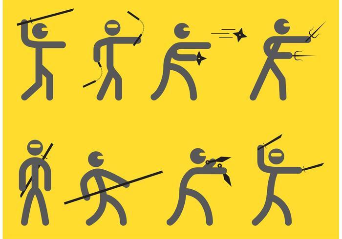 Ninjas Silhouette Vectors