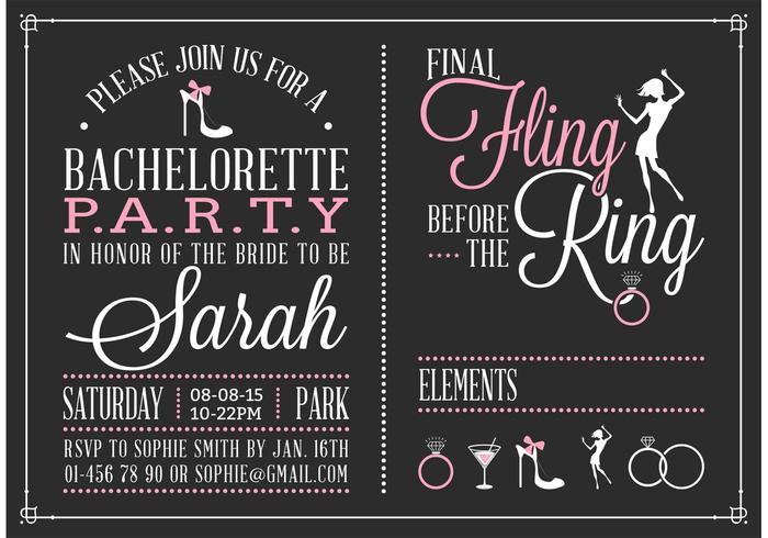 Free Bachelorette Party Invitation Vector - Download Free ...