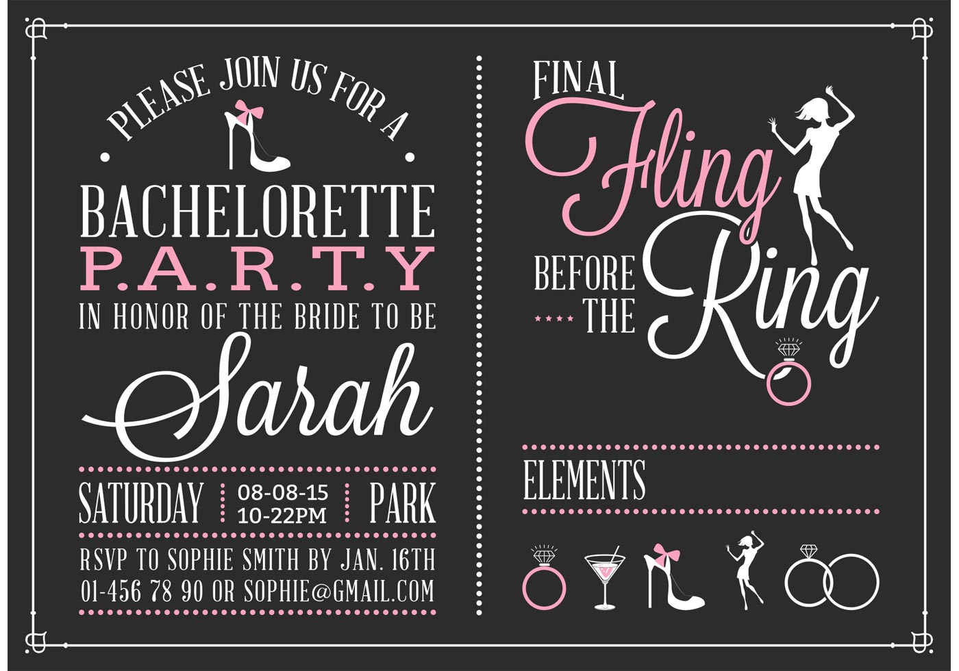 Bachelorette Party Invitation Vector - Download Free Vectors