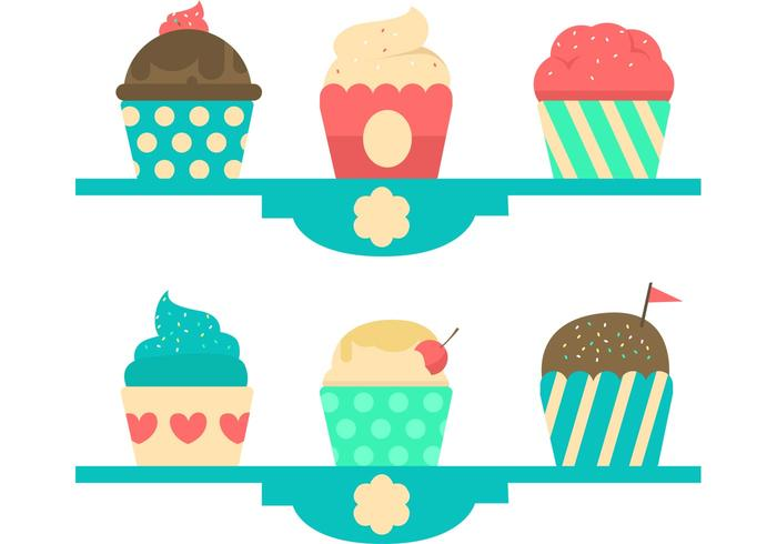Cupcake Stand Pastel Vector