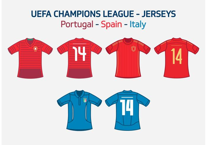 UEFA Team Jerseys Portugal Spain Italy Vector Free