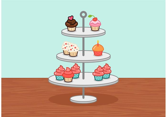 Little Cupcake Stand Vector