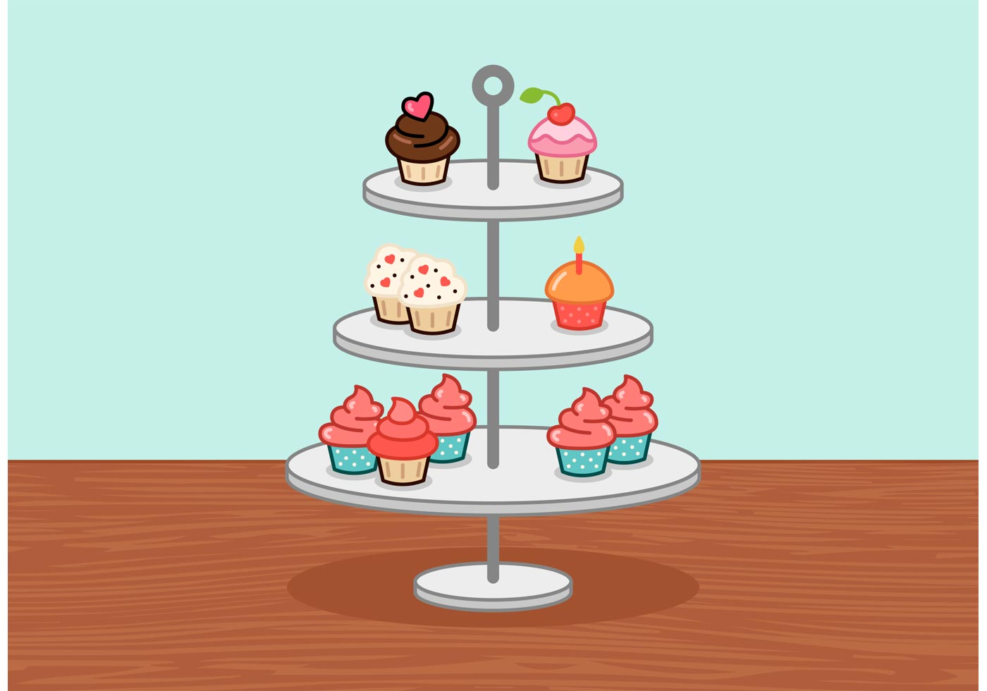 Little Cupcake Stand Vector Download Free Vector Art
