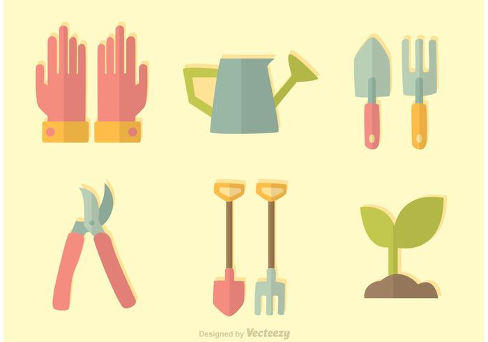 Vetor de ícones de jardinagem plana