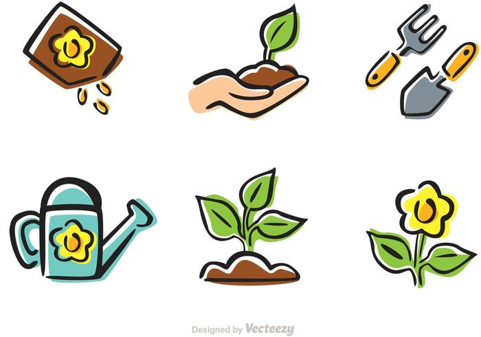 Cartoon gardening icons vector download free vector art for Gardening tools cartoon