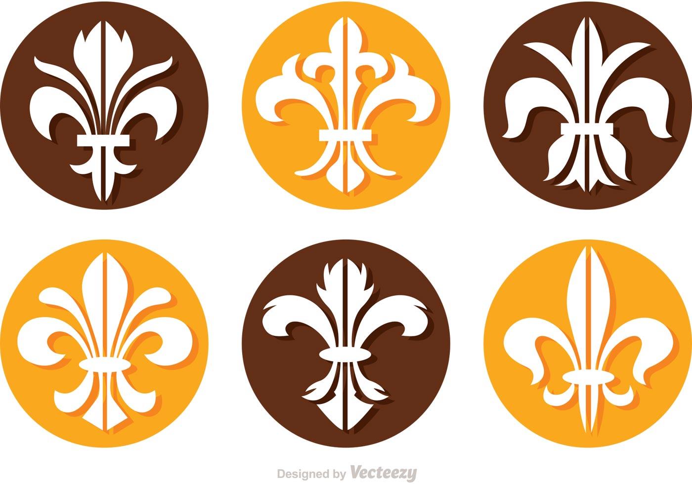 Fleur De Lis Circle Icons Vectors