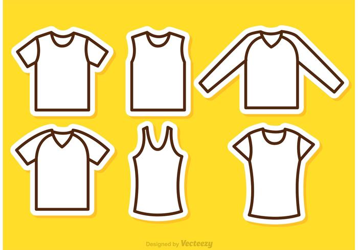 Sports Jersey Outline Icons Vectors