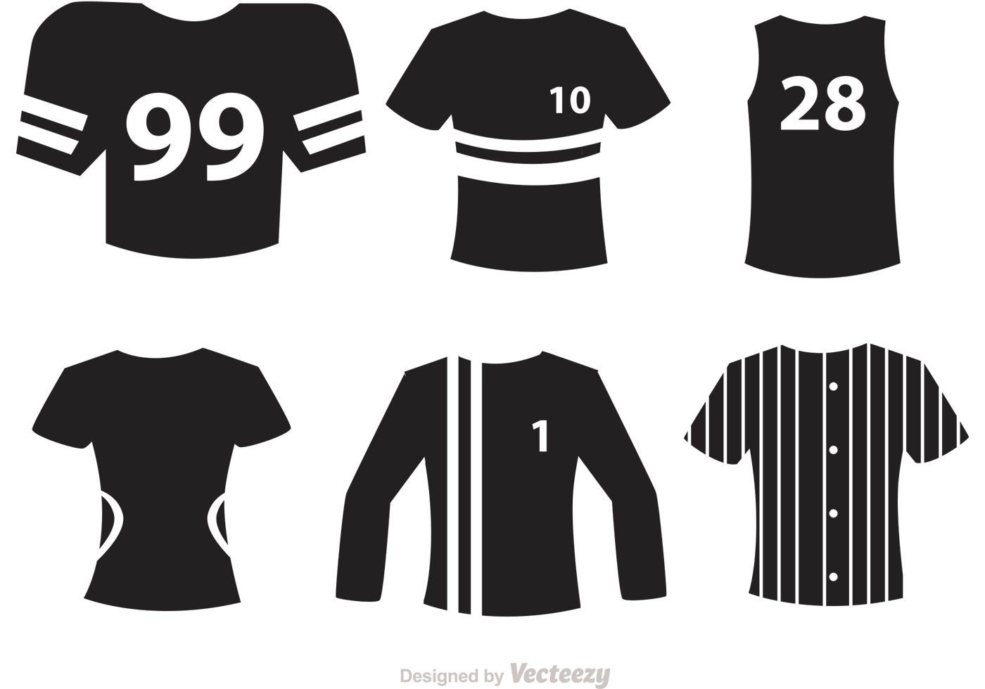 sport jersey black icons vectors