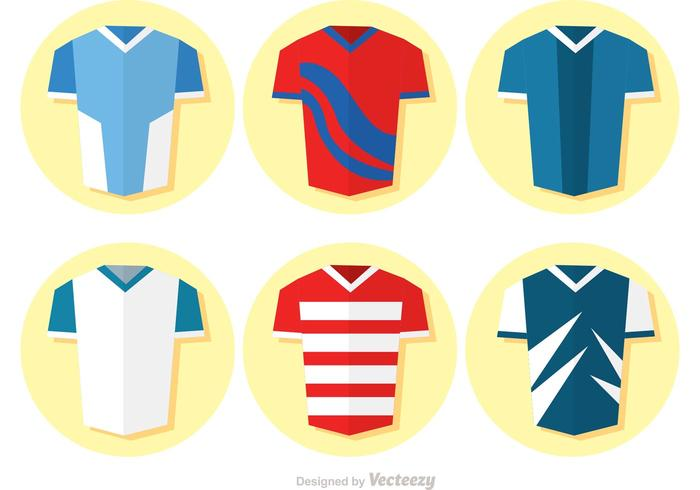 Collection Of Flat Soccer Uniform Vector