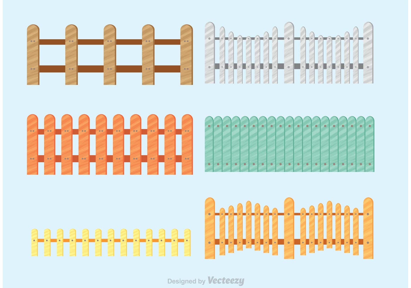 Colorful Picket Fence Vectors Download Free Vector Art