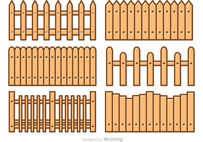 Picket Fence Cartoon Vectors