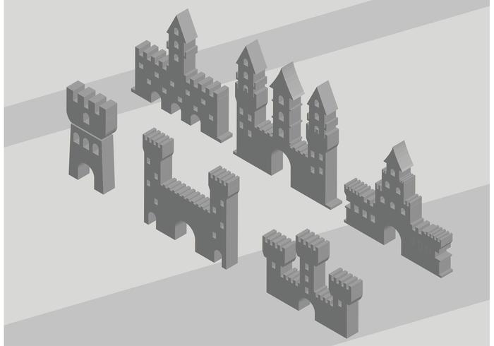 3D Fort Icon Vectors