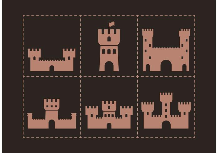 Brown Fort Vector Icons
